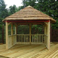 Retro Bamboo Gazebo Canopy Decors With Vertical Fence As Well Floor And Treen In The