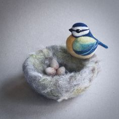 Needle felted bird nest by The Lady Moth made to by TheLadyMoth
