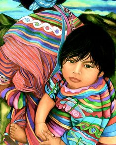 Guatemalan Baby in a Reboso ~ by Claudia Tremblay Zapfino Font, Illustrations, Illustration Art, Guatemalan Art, Claudia Tremblay, Native American Artists, African Girl, Special Quotes, Watercolor Texture