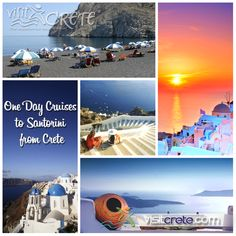 One day cruises to Santorini from Crete. Check-out all available cruises from Crete: http://www.visitcrete.com/uk/article/santorini-one-day-cruises-from-crete