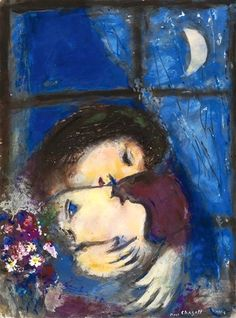 Marc chagall - two heads at the window, 1955-56. Gouache, pastel and ink wash we paper ugly down on canvas, 24 5/8 x 18 1/4 in. (62.6 x 46.5 cm.). @ Sotheby's images, London