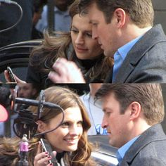 Stana Katic and Nathan Fillion on the set of Castle.
