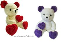 Valentine Teddy Bear With Heart Shaped Feet ~ free crochet pattern ~ Amigurumi To Go