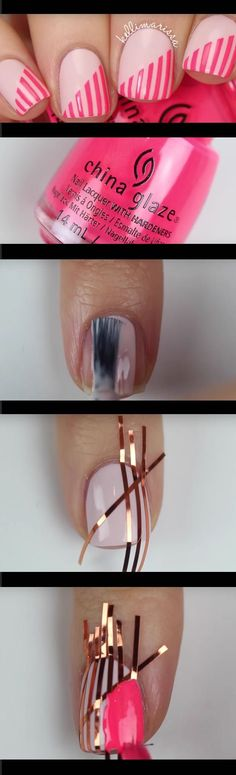Super Easy Nail Art Ideas for Beginners - DIY Beginner Striping Tape Nail Art Tutorial KELLI MARISSA - Simple Step By Step DIY Tutorials And Pictures For Nailart. Ideas For Every Style, All Hair Colors, Sparkle, Valentines, And other Awesome Products To Make It DIY and Super Easy - www.thegoddess.co...