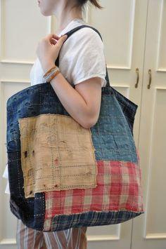 Boro style tote bag