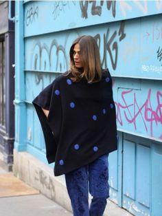 100% Cashmere Polka Dot Navy Blue Poncho Cashmere Poncho, The 100, Polka Dots, Navy Blue, Street Style, Style Inspiration, Collection, Coat, Jackets