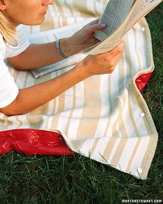 Don't let yesterday's rainstorm dampen your plans for a picnic. You can waterproof a cotton or wool blanket by adding a protective backing of water-resistant fabric such as ripstop nylon or oilcloth, and safely lounge on damp grass.
