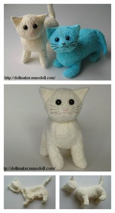 DIY Terry Cloth Cats with Free Pattern - Stofftiere Sewing Stuffed Animals, Stuffed Animal Cat, Cute Stuffed Animals, Stuffed Animal Patterns, Softie Pattern, Cat Pattern, Free Pattern, Towel Animals, Sock Animals