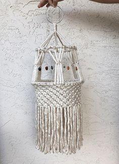 White Macrame Hanging Chandelier Lantern Mobile for Baby