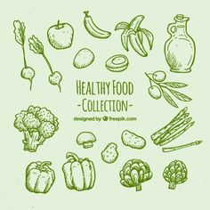 Green hand drawn healthy food set Free Vector