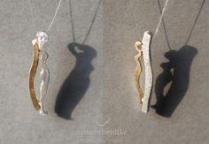 """Paaranhänger """"MannUndFrau"""" aus 925/- Silber und 750/- Gelbgold"""