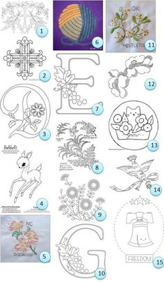 Free hand-embroidery patterns - I love the littel kitten in the flowerbed (13) and finally!! A G for Grietha!!