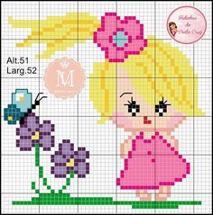 Yarn Crafts For Kids, Cross Stitch Embroidery, Needlework, Canvas, Smocking, Toddler Chart, Cross Stitch Rose, Dots, Bebe