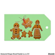 Animated Ginger Bread Family Pack Of Gift Tags
