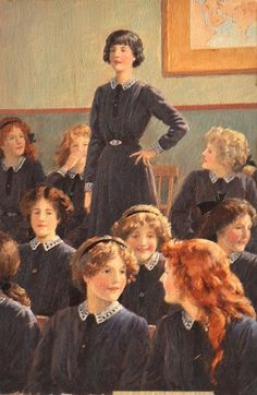 The Wrong Word. Percy Tarrant (British, Oil on board. Interior of a girls' school room with a young girl standing who appears to have misspoke during her oration, causing the other. Back To School Art, I Love School, Girls School, Vintage School, Vintage Girls, La Pie Monet, Class Pictures, Girl Standing, The Orator