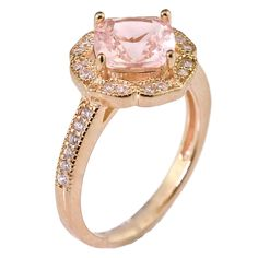 My Jewelry Passion Created Rose Pink Morganite Floral Halo Solitaire Bridal Engagement Wedding Promise Ring Rose Gold Over 925 Sterling Silver Filigree Engagement Ring, Rose Gold Engagement Ring, Vintage Engagement Rings, Morganite Jewelry, Morganite Ring, Wedding Promises, Promise Rings For Her, Thing 1, Wedding Rings For Women