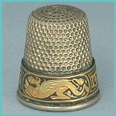 Vintage Damascene Steel & Brass Thimble w/ Dragon Motifs * Mid 20th Century