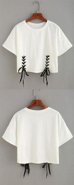 Double Lace-Up Hem Crop T-shirt by florine