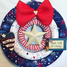 FREE SHIPPING-Americana Wreath-Patriotic Wreath-USA-Red,White and Blue-Sweet Land of Liberty-Land of the Free-Triple Wreath-Modern Wreath by BearCountryCraftz on Etsy https://www.etsy.com/listing/272568110/free-shipping-americana-wreath-patriotic