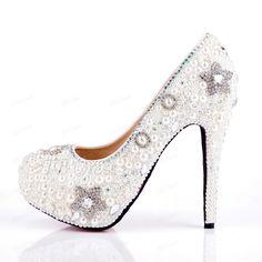 Delicate Platform Heel Pearl Srar Sequins Wedding Shoes : Tbdress.com