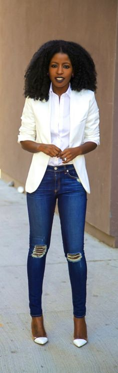 White Blazer + White Button-Up + Distressed Jeans / Style Pantry