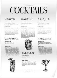 'Cocktail Recipes' Poster by mooseandmarble Drink Menu Design, Food Design, Printable Kitchen Prints, Cocktails For Parties, Coctails Recipes, Cocktail Menu, Christmas Cocktails, Daiquiri, Recipe Cards