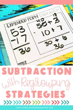 If you're workin on subtraction with regrouping with your students, click the pin to check out these great strategies and activities! These teaching ideas are perfect for subtracting 3 digit and 2 digit numbers in 2nd grade!