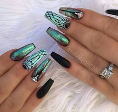Dark holographic glitter mani. Are you looking for acrylic nail designs for fall and winter? See our collection full of cute fall and winter acrylic nail designs ideas and get inspired!
