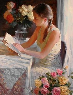 ✉ Biblio Beauties ✉  - by Vladimir Volegov  ...   she's chosen a lovely light filled spot to read surrounded by perfumed roses.