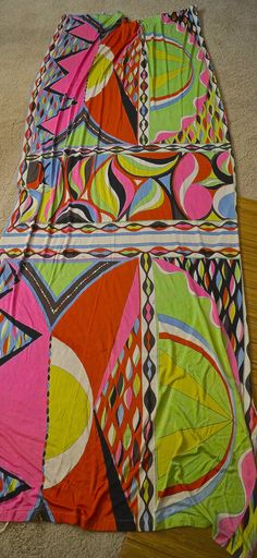 Vintage 1960s Emilio Pucci mod geometric print silk jersey fabric. This is a long piece of original Pucci silk fabric that was at one time some