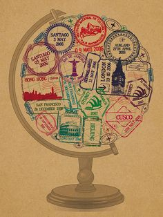 personalised passport stamp globe print by hannah lloyd | notonthehighstreet.com