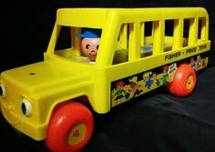 1984 Fisher Price LITTLE PEOPLE YELLOW SCHOOL BUS #192 Working Eyes Pull Toy #FisherPrice