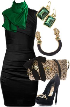 """Emerald Green in Black"" by gangdise on Polyvore"