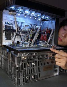 Dioramas by Satoshi Araki Gundam Head, Gundam Art, Reactor Nuclear, Miniature Calendar, Miniature Photography, Star Wars Decor, Japanese Design, Japanese Art, Wargaming Terrain