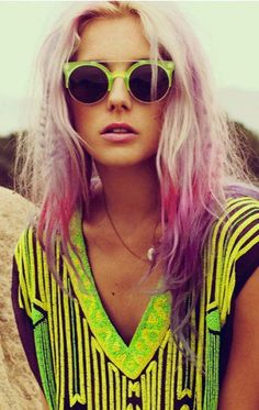 Colored ombre hair #pink #purple #dipdyed #dyed #hair #neon