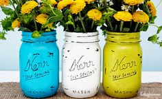 Vintage Inspired Painted Mason Jars.  I like these so much more than painting the jar on the inside. You'll need the following supplies:  Mason Jars, Acrylic Paint, Paint Brush(es), Nail Files, Sealer and a bouquet of flowers (of course).