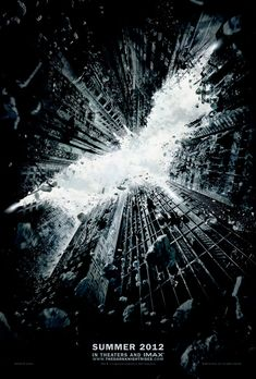 "Poster for ""The Dark Knight Rises"". Impressive use of negative space of the skyline from the skyscrapers in forming the Batman logo"