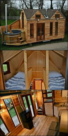 Thinking of downsizing? The latest tiny house we've spotted has an unusual finishing touch that brings an extra bit of comfort to the minimalist lifestyle — a petite, personal hot tub. house, This Cabin Proves Tiny Homes Can Be Luxurious Tyni House, Tiny House Cabin, Tiny House Living, Tiny House Plans, Tiny House Design, Tiny House On Wheels, Hot House, Cabin Homes, Off Grid Tiny House
