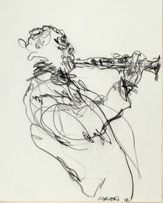 One-Continuous-Line-Speed-Drawing: Clarinet jazz musician in the subway, nyc. by Gregory Muenzen Contour Drawing, Gesture Drawing, Line Drawing, Drawing Sketches, Art Drawings, Drawing Ideas, Scribble Art, Jazz Art, Arte Sketchbook