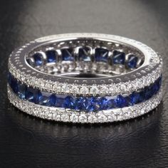 SICK! Lol what can I say I like to bling!   2.51ct Princess Sapphires .78ct Diamonds 14K White by ThisIsLOGR, $1269.00