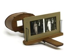 French Antique Stereoscope Viewer with Slide Collection. Victorian Wedding Photograph Slide Viewer.