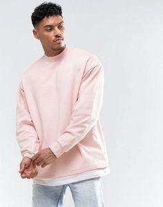 ASOS Oversized Sweatshirt With T-Shirt Hem in Pink