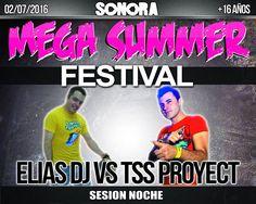 El próximo sábado 2 de Julio estará en el #MegaSummerFestival de @Sonora en un versus muy especial junto a @TSSPROYECT con todo el #SonidoCrazy =D Nos vemos!