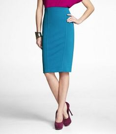 Express PONTE KNIT HIGH-WAIST SEAMED PENCIL SKIRT - tried it on and it fits SO WELL...fusion blue, here I come.