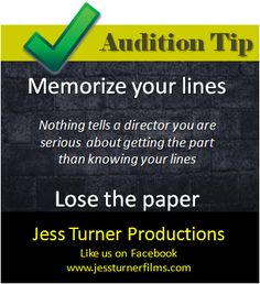 Whether you're auditioning from the script or a monologue, memorize. You can make mistakes--the best directors focus on talent, not memorization--but do be highly familiar with your piece so you can perform to the best of your ability. Act Theatre, Theater, Theatre Quotes, Theatre Nerds, Musical Theatre, Theatre Auditions, Acting Quotes, Acting Tips, Singing Career