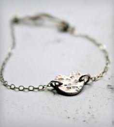 Hammered Silver Heart Bracelet
