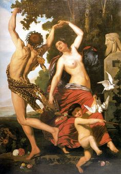 "Juan León Pallière:  ""Faun and Bacchant"",circa 1862,  oil on canvas, Dimensions:  246.3 × 172 cm (97 × 67.7 in)  Current location:Museu Nacional de Belas Artess, Rio de Janeiro, Brazil."