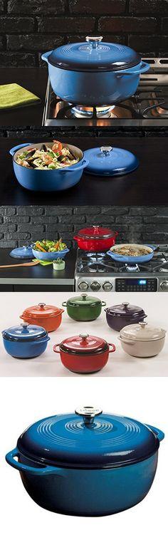 Lodge EC6D33 Enameled Cast Iron Dutch Oven, 6-Quart, Blue Enamel Dutch Oven, Cast Iron Dutch Oven, Dutch Ovens, Kitchen Essentials, Kitchen Accessories, Dog Bowls, Porcelain, Dishes, Cookware