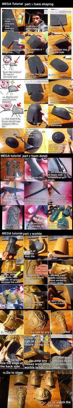Foam and Worbla armour MEGA TUTORIAL by AmenoKitarou. Sorry about the language, but its good tutorial on foam shaping