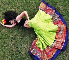 Green Hand Worked Chaniya Choli for Navratri #Chaniya Choli #Green #Navratri